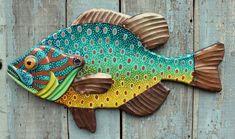 Folk Art Fish, Fish Wall Art, Fish Art, Vermont, Group Art Projects, Art Populaire, Wood Carving Designs, Lake Decor, Painted Rocks
