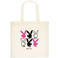 Bunny canvas book'script tote $12