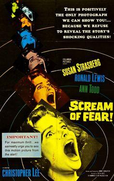 Susan Strasberg in Taste of Fear Horror Movie Posters, Horror Films, Film Posters, Graphic Posters, 1961 Movies, Go To Movies, Movies 2019, Susan Strasberg, Crime Film