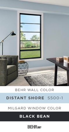 Looking to refresh the style of your home office? Find inspiration with a little help from Behr Paint in Distant Shore paired with this Single Hung Fiberglass window, from the Milgard Ultra™ Series, in Black Bean. This traditional color palette combines light blue with neutral shades of gray, white, and black. Click below for full paint color details to learn more.