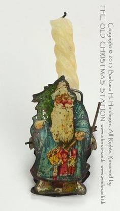 THE OLD CHRISTMAS STATION - alter Christbaumschmuck :: Blechkerzenhalter :: blauer Weihnachtsmann :: lithografiert :: Klipp :: Biedermeierku...