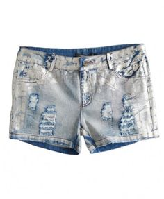 Silver Metallic Coating Ripped Denim Shorts