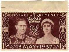 Great Britain stamp: King George VI Coronation. c. 1937, In honor of the Coronation of King George VI at Westminster Abbey on May 12th, 1937 Designed by Edmund Dulac and Eric Gill, Photography by Dorothy Wilding. via @karenhorton