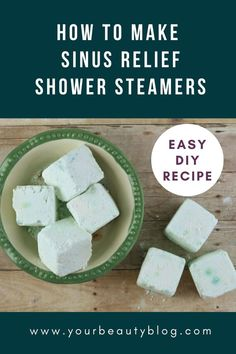 How to make DIY shower steamer for sinus relief and decongestant. This is an easy DIY recipe for homemade sinus aromatherapy at home. DIY how to make DIY vicks style EO recipe without citric acid. DIY aromatherapy for your shower with vapor from essential Oils For Sinus, Sinus Relief, Shower Bombs, Bath Bombs, Steamer Recipes, Shower Steamers, Diy Shower, Soap Recipes, Citric Acid