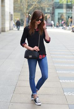 jeans, plaid shirt with black sweater overtop and converse shoes