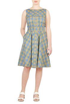 I <3 this Self-belt cotton check dress from eShakti