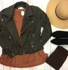 If suede was a person, we'd be in love. 😍 #xoxoAL4You #motojacket #fallfashion #floppyhat #booties #apricotlane Suede Me Moto Jacket $64 Distressed Collar Top $36 Order with the link below.  http://form.jotform.us/form/52044697810154