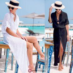 fe51160f25 Women s Long Sleeve Chiffon Swimsuit Cover up Fashion Beachwear Uk Tunic  Buttons High Split Long Shirt Beach Maxi Dress