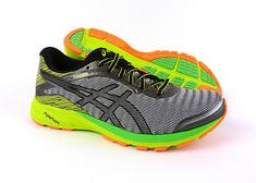 competitive price 994f0 8d2b8 Asics DynaFlyte men s running shoes sneakers trainers Mid Grey Black Yellow
