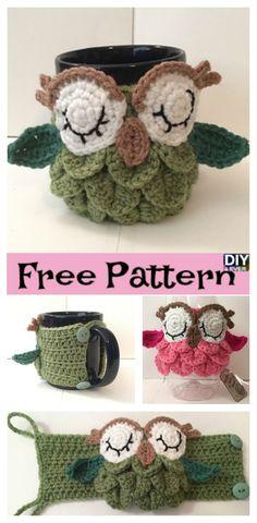 Crochet Owl Mug Cozy – Free Pattern #crochet #freepattern