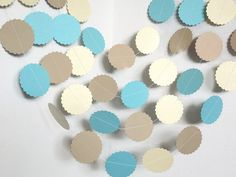 Circle Paper GarlandSea Colors GarlandIvory Aqua by ShopatLilys