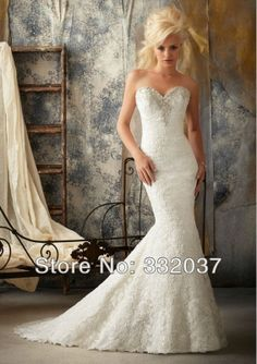 2014 Wholesale ivory lace mermaid wedding dress sweetheart plus size gothic wedding dresses trailing wedding dress custom BM