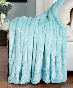 Another great find on #zulily! Light Blue Double-Sided Faux Fur Throw #zulilyfinds