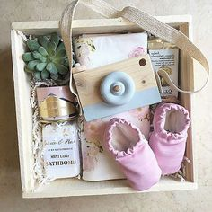 Keeping mom in mind too with this thoughtful box of lovelies for a little lady 💗 Baby Girl Gift Baskets, Baby Gift Box, Baby Girl Gifts, New Baby Gifts, Baby Box, Corporate Gift Baskets, Boyfriend Gift Basket, Box Studio, Dream Studio