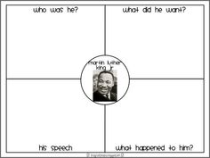 FREEBIE: 4 great worksheets including a 4-square, a cut and paste positive behaviors worksheet, a Martin's Dream/My Dream worksheet and a fill in the blank from First Grade Fanatics: MLK
