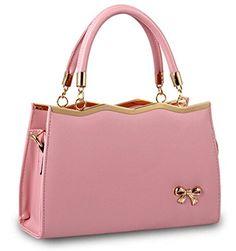 b2dc4cd732 Buenocn New Fashion Womens Pu Leather Padlock Bow Tote Handbag Shoulder Bag  Shy782 Leather Purses