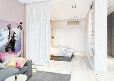 idée de séparation de pièce avec rideau