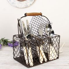 Prim and proper, our French Country styled Cutlery Caddy  will allow your to organise your kitchen in style. The Antique Brown chicken wire design not only adds charm but makes the caddy also act as a handy drainage rack, easily placed besides the kitchen sink.