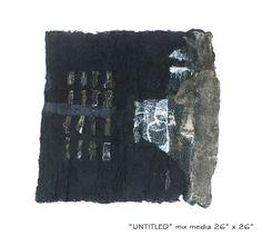 """untitled mix media on cotton wool,  size :26''x26'',2006"