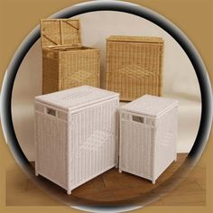 Wicker Laundry Hampers Keep baths and bedrooms orderly with laundry hampers in two sizes. Classic styling is structured with a rattan weave featuring Art Deco diamond patterns on the fronts and lids. Cane post supports are fully wrapped and side cutouts make lifting easier with a heavy load. They can sit side by side for sorting or be separated for youth and adult spaces.