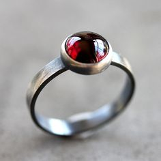 Garnet Ring, Black Cherry Red Garnet Gemstone Roughed Up Sterling Silver Ring January Birthstone - Made to Order - Sangria.   via Etsy.