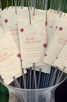 Sparklers for night wedding. Don't like the pink/design of the cards, but like this idea.