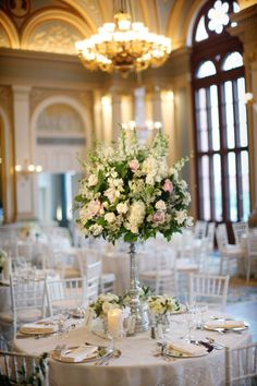 Tall Rose and Hydrangea Centerpieces | Rhoads Garden | Alison Conklin Photography | TheKnot.com