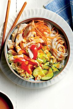 June 2016 Recipes: Chicken Noodle Bowl with Peanut-Ginger Sauce