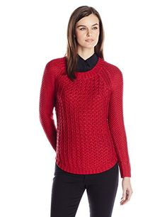 Calvin Klein Jeans Women's Core Texture Mixed Crew, Persian Red, Small Calvin Klein Jeans novelty pullover sweater featuring open stitch detailsKnit sweater featuring a crew neck and long sleeves with subtle shine in the yarnSmall logo on the back shoulder yokeContrasting knit hem