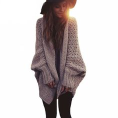 Batwing Sleeve Oversized Knitted Cardigan //Price: $33.98 & FREE Shipping //     #womensfashion
