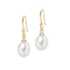 Dower & Hall 18ct Gold Vermeil 10mm Oval White Freshwater Pearl Earrings £80