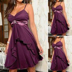 Purple Chiffon Bridesmaid Dress