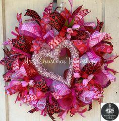 Deco mesh wreath Valentine wreath be mine Valentine's Day heart wreath tulip wreath