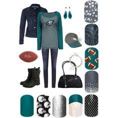 """""""Jamberry Nails - Fall 2013 - Philadelphia Eagles Spirit"""" by christina-pereira-1 on Polyvore"""