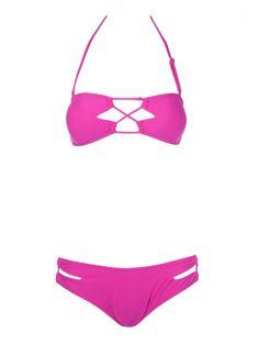 Openwork Solid Color Bikini Set #womensfashion #pinterestfashion #buy #fun#fashion
