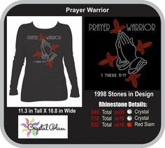 Prayer Warrior  Rhinestone Design Digital Download CG