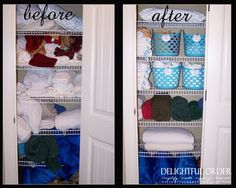 Awesome linen closet transformation and other organizational inspirations