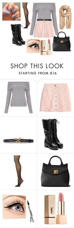 """grey and pink"" by snowyrose on Polyvore featuring moda, New Look, H&M, Gucci, Calvin Klein, Luminess Air, Yves Saint Laurent e MANGO"