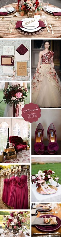 Marsala Wedding Inspiration Board #marsala #coloroftheyear2015 #coloroftheyear