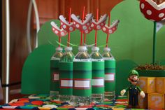 Super Mario Bros. Party - Birthday - Super Mario Inspired DIY PRINTABLE Bottle Wraps. $3.00, via Etsy.