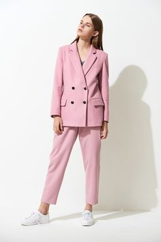 FRS Pink Wool-blend Double Breasted Blazer - FrontRowShop