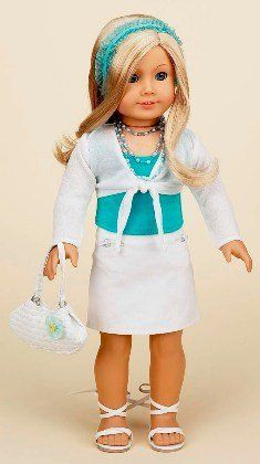 "Teal Top with White Skirt and Sandals. Complete outfit. Fits 18"" Dolls like American Girl® by Doll Factory. $27.99. White, tie-front shrug.. White denim skirt with zipper pockets.. ****Doll NOT Included****. Teal tank top, Matching headband.. White strappy sandals, purse, and necklace also included!!. A trendy summer outfit full of great accessories!"