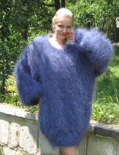 Light and fuzzy hand knit mohair sweater dress par supertanya