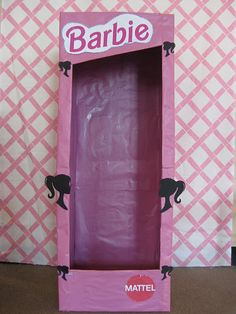 would be so fun for a birthday party or sleep-over!  photo session for each girl inside the life-size Barbie box! made out of cardboard and wrapped with pink paper.