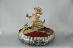 Cast Metal and Tin Pipe Stand/Ashtray 1930s
