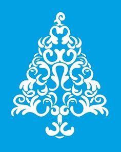 Stencil Árvore de Natal 17 x 21cm - STMN 003 Litoarte - Stencil 17 x 21cm - Stencil ou molde vazado - Empório Janial