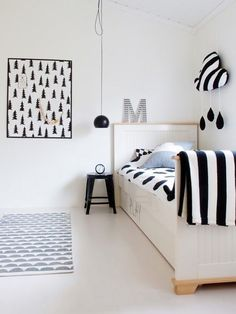 black and white children's room wallpaper detail fir