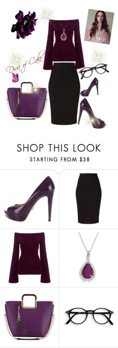 """""""Elegant office outfit  black and wine burgundy"""" by Diva of Cake  featuring Prada, Winser London, Finders Keepers and Allurez"""