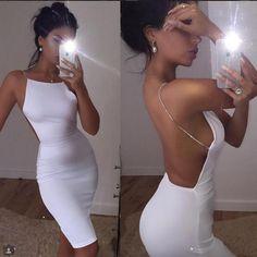Sexy Deep V-neck Dress White or Black