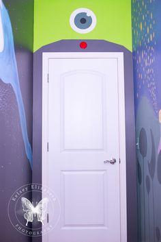 Monster's Inc Bedroom; Disney Bedroom; Pixar Bedroom;Children's Bedroom; Disney Mural; Kelsey Elizabeth Photography; Mike Wazowski